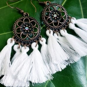 Jewelry - 🆕️Festival Tassel Bohemian White Gem Earrings🆕️
